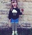 Весна Европейский Стиль Дети Мальчики и Девочки Дождь Облака Pattern Тис С Длинным Рукавом Детская Одежда Малыша Мальчиков Черные футболки t764