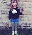 Spring European Style Kids Boys&Girls Rain Clouds Pattern Tees Long Sleeve Kids Clothing Toddler Boys Black T shirts t764