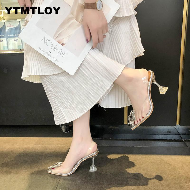 Luxury  Women Pumps 2019 Transparent High Heels Sexy Pointed Toe Slip-on Wedding Party Brand Fashion Shoes For Lady  PVC 3