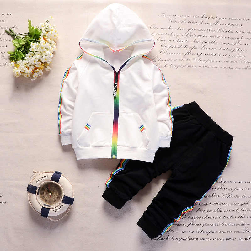 Baby Boy Clothes Spring Autumn Rainbow Hooded Zipper Long Sleeve + Pants Sports 2Set Baby Girl Outfits Kids Bebes Jogging Suit