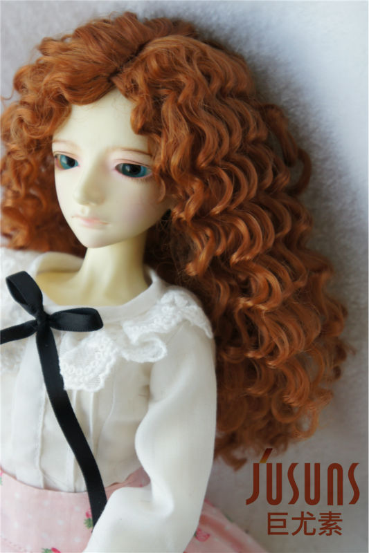 MSD doll wigs 1/4 Synthetic mohair BJD Wig Middle part line Long curly wig7-8 inch Classic hair Lati Blue dollaccessories