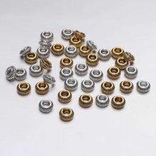 цена на 50pcs/lot 7mm Antique Gold Silver Charm Bracelet Beads Findings Loose Spacer Beads For Jewelry Making Supplies DIY Accessories