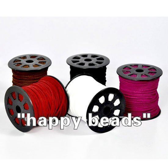 Free Shipping EMS DHL 5Roll(95Mx5) Mixed Velvet Cord for Necklace 2.5mm*1.5mm(w00860)