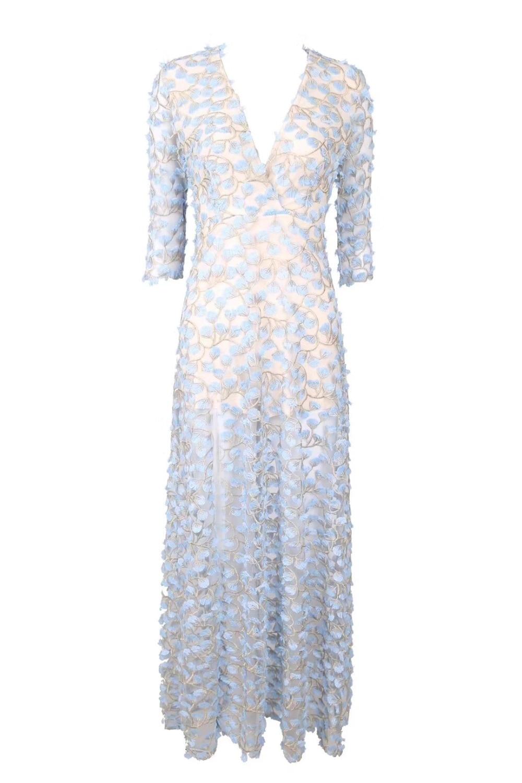 Élégant Bleu Sexy Qualité Haute Robe Parti Longue À Manches Longues Femmes Designer 2018 qwXP4H