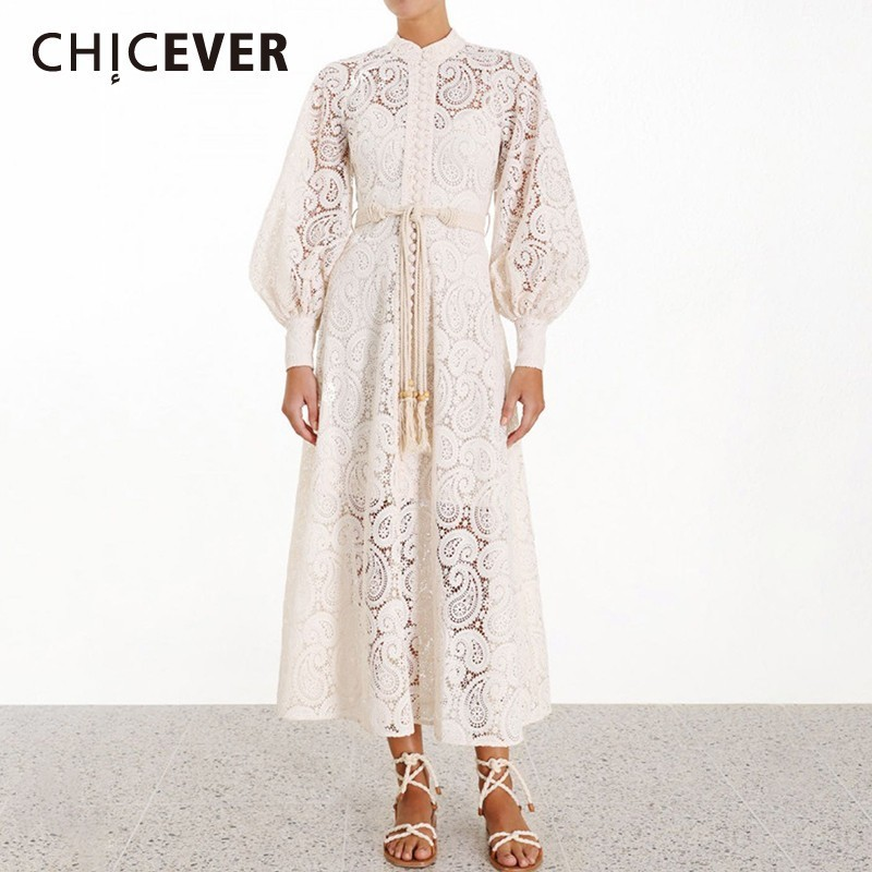 CHICEVER Solid Embroidery Hollow Out Summer Dress Stand Collar Lantern Sleeve High Waist Sashes A line