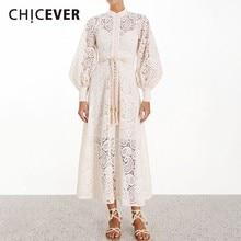 CHICEVER SOLID Thêu Rỗng Ra Mùa Hè Cổ Đứng Tay Phồng Cao Cấp Tất Chữ A Midi Váy Đầm Cho Nữ