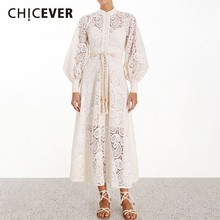 CHICEVER Solid Embroidery Hollow Out Summer Dress Stand Collar Lantern Sleeve High Waist Sashes A line Midi Dresses For Women