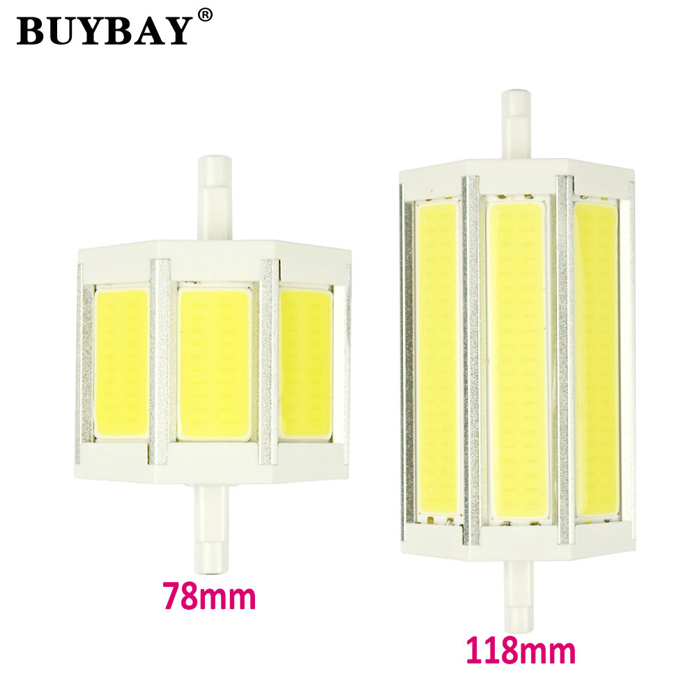 BUYBAY brand COB R7S LED Lamp 9W 15W 78mm 118mm LED R7S Bulb 85-265V Replace Halogen Light spotlight r7s 78 r7s 118 6pcs/lot new arrival no flicker cob r7s led lamp 10w r7s 78mm led r7s light bulb 85 265v replace halogen spot light r7s 78 energy saving