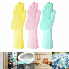 Magic Dish Washing Gloves Silicone Rubber Scrubber Cleaning Glovers 2 in1 Use