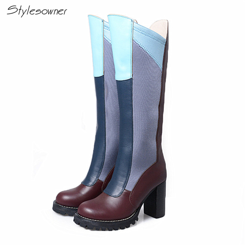 Stylesowner European Fashion Brand Genuine Leather Knee High Boots Women Popular Mixed Color Stretch Fabric Long Boots For Woman