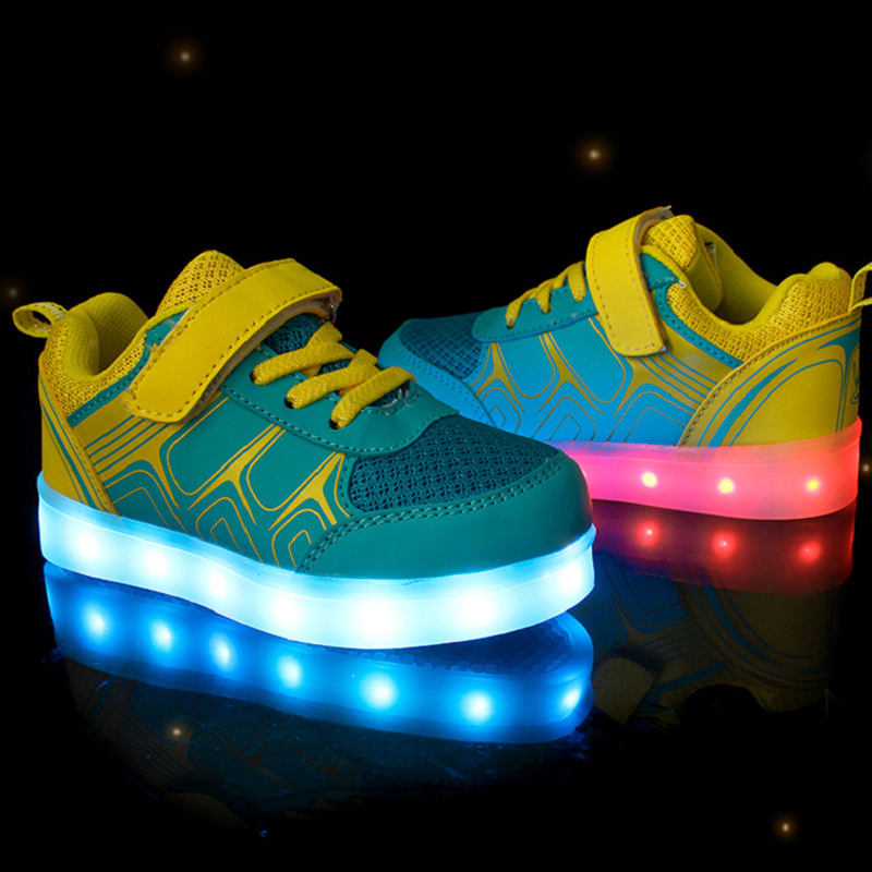 LED Shoes 7 colors usb rechargeable Sneakers new Kids Trainers Luminous Sneakers with Light Sole Glowing Children Shoe led glowing sneakers kids shoes flag night light boys girls shoes fashion light up sneakers with luminous sole usb rechargeable