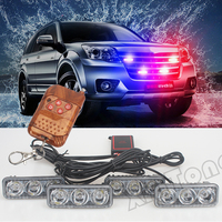 36W Wireless Remote 4x3 Led Ambulance Police Light DC 12V Red Blue White Police Beacon Light