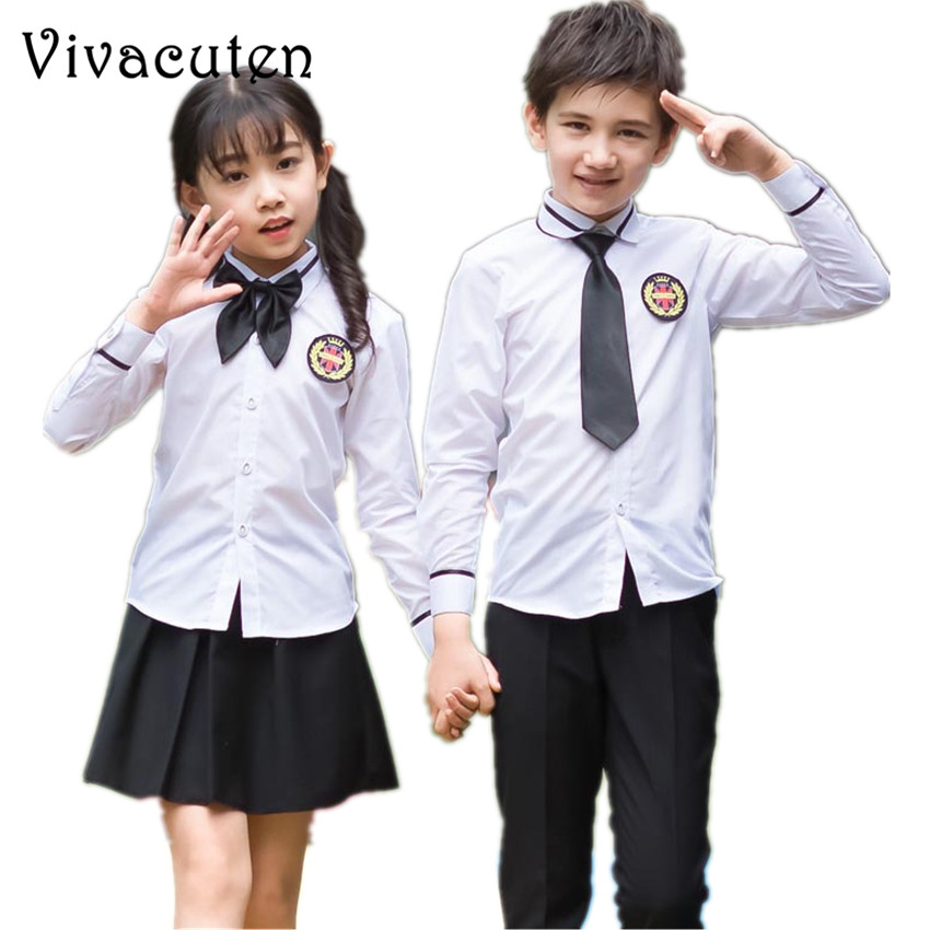 Girls Boys School Uniforms White Shirt Pants Tutu Skirt Tie Clothing Set Kids Formal Performing Suit Birthday Party Costume F116