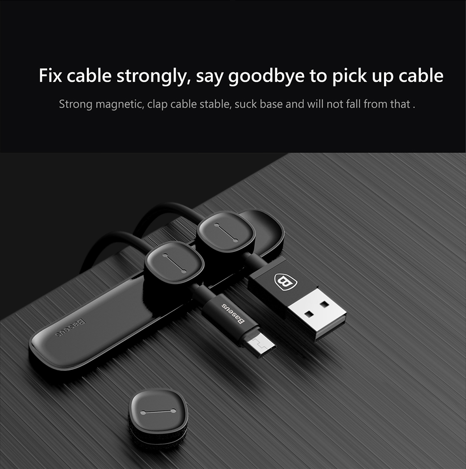 HTB1UiV5whSYBuNjSsphq6zGvVXap Baseus Magnetic Cable Protector USB Charger Cable Organizer Workstation USB Date Cable Holder Desktop Silicone Cable Winder Clip