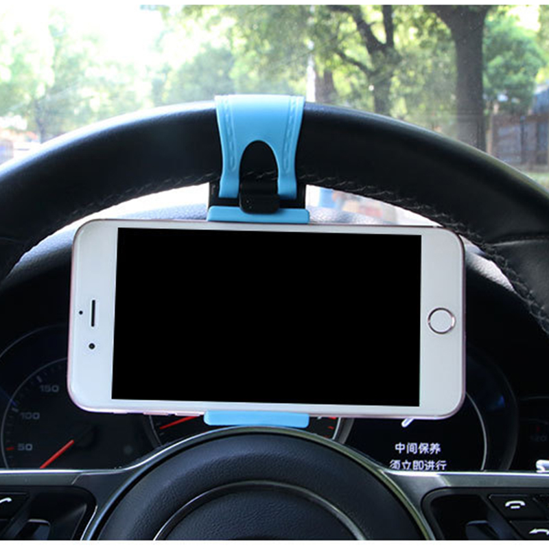 Universal Car Steering Mobile Phone Holder Wheel Bike Clip Mount Rubber Band Holder Phone Stand Dispaly For HuaWei Iphone GPS