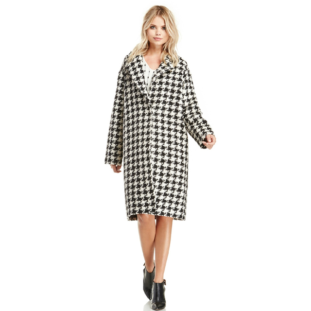 db4d30a5efb 2015 New Autumn Winter Plaid Coat Women Long Wool Blend Jacket Outerwear  Warm Women's Coat Long Maxi Black White Coats