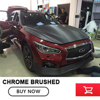 High quality 1.52mX20m Dark Grey Brushed Vinyl wrap Car wrapping chrome brushed steel Car Wrap Film With Air Bubble Free