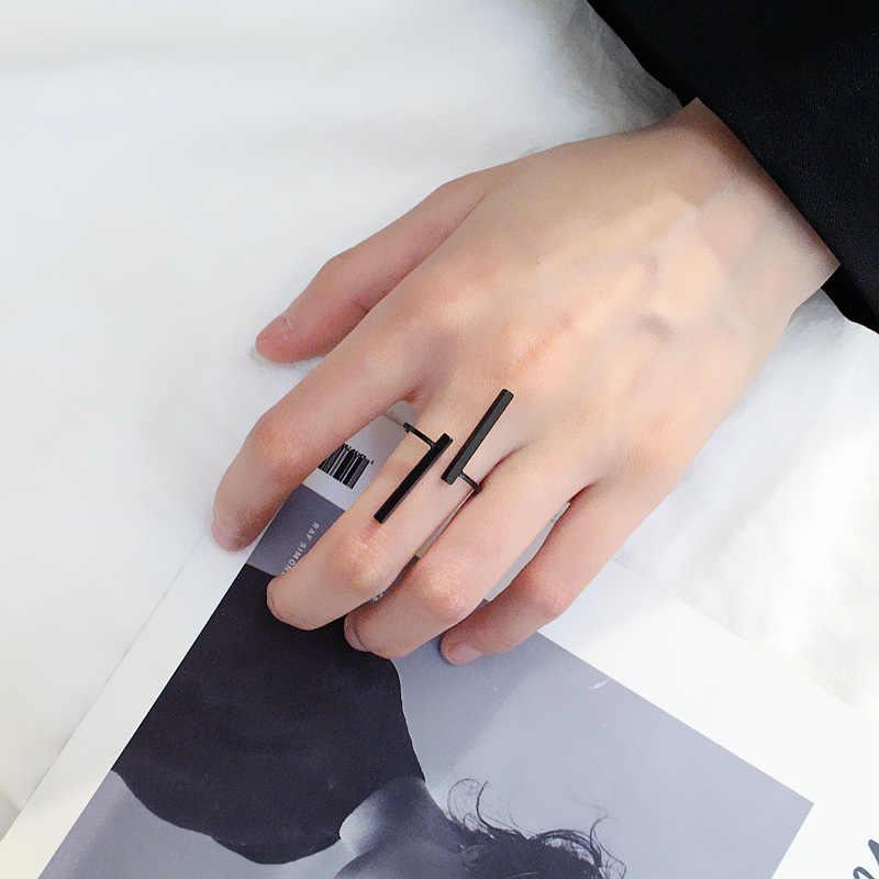 Kominry Punk เรขาคณิตแหวนสไตล์ฤดูร้อนผู้หญิงผู้ชายแหวนเงินปรับสีดำทองสีแฟชั่นออกแบบเครื่องประดับ