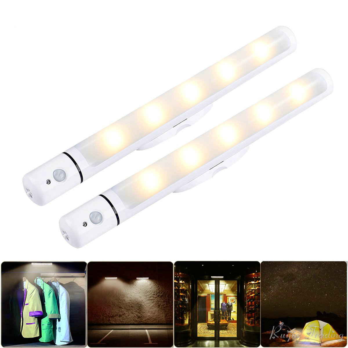 Us 784 49 Offbattery Powered Wall Light Led Motion Sensor Camping Kast Kitchen Cabinet Garage Stairs Closet Flashlight Night Emergency Lamp في