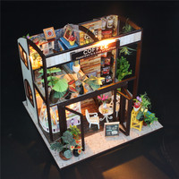 M027 Coffee House DIY Dollhouse With Music Motor Cover Light Miniature Model Toy Gift Kids Children