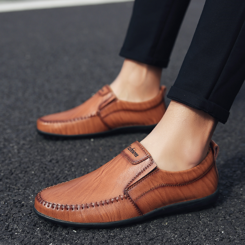 Mocassins Noir Hommes Luxe Conduite Designer En Appartements Sur Brown Chaussures Buty Meskie marron Véritable De light Casual Mode Cuir Italien La Glissement 2018 Yoylap zC8qwRw