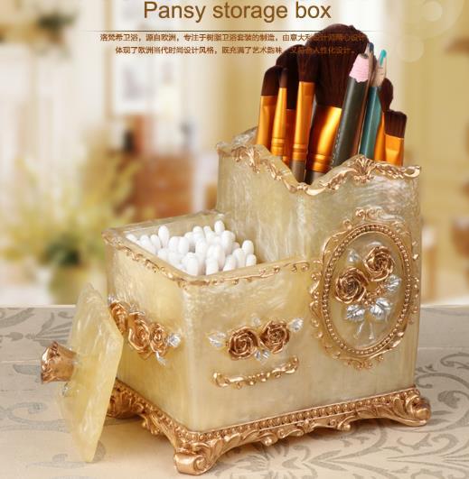 High end storage box cotton swab storage European style brush bucket makeup brush storage box makeup brush barrel pen holder