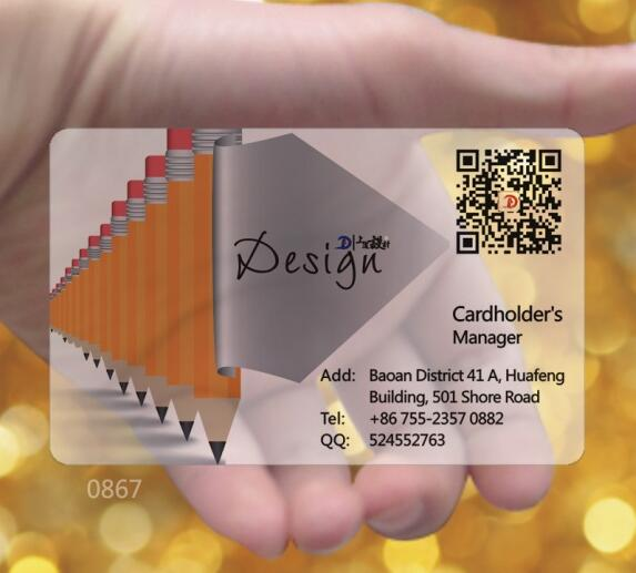Custom Design Transparent Visiting Card Printing One Side Clear Pvc Business