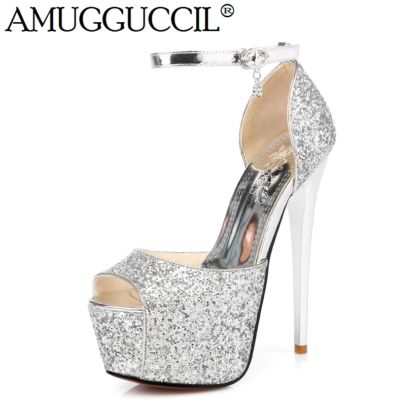 2017 New Gold Silver Buckle Bling Fashion Sexy 15.5CM High Heels Platform Party Wedding Summer Female Women Shoes Sandals L927 phyanic gold silver wedges sandals 2017 new platform casual shoes woman summer buckle creepers bling flats shoes phy4040