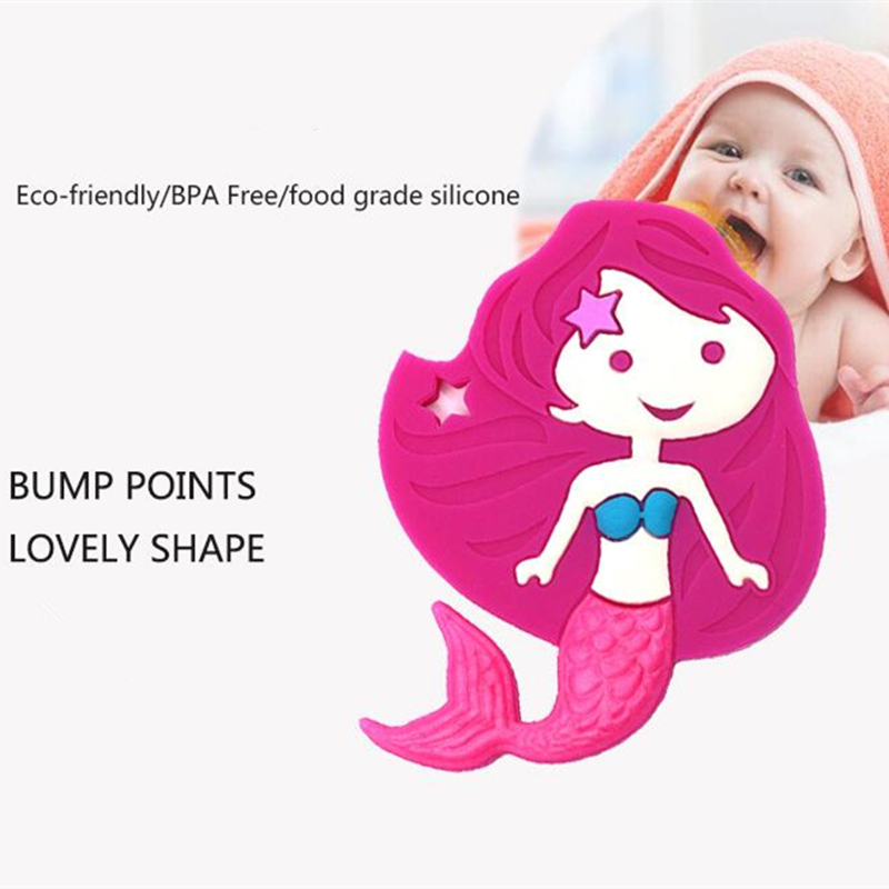 10pcs Mermaid Silicone Teethers Food Grade For DIY Baby Teething Necklace Silicone Beads Teething Toddler Toys
