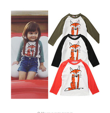 2016 Toddler Kids Baby Boys Girls Infant Autumn Long Sleeve Patchwork Fox T-Shirt Tops Clothing Cotton T-Shirts Hot