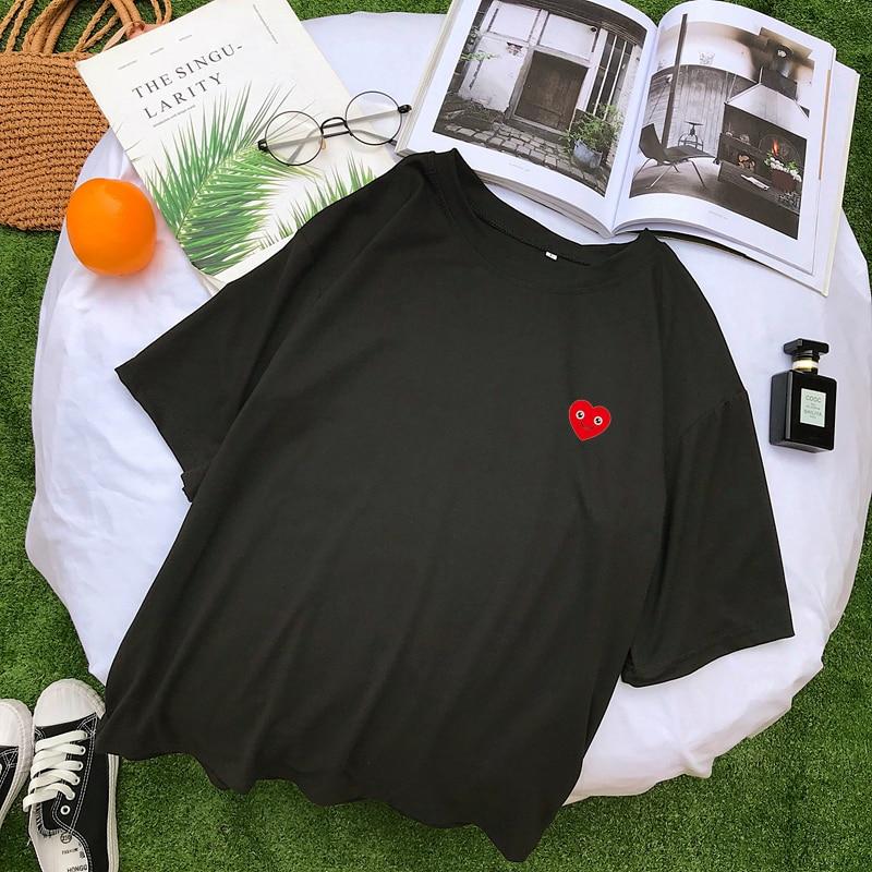 Best Friends T Shirts Women New Summer Short Sleeve Kawaii Smil Face Heart Print Tee Shirt Femme Streetwear Casual Harajuku Tops