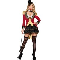 4 Pcs Ladies Ringmaster Costume Adult Sexy Naughty Circus Ringleader Halloween Costumes For Women Fancy Dress