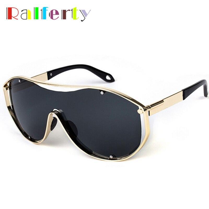 Ralferty Vintage Steampunk Kaca Mata Wanita Pria Besar Perisai Logam Emas  Uap Punk Kacamata Cermin Matahari 22b70a0e47