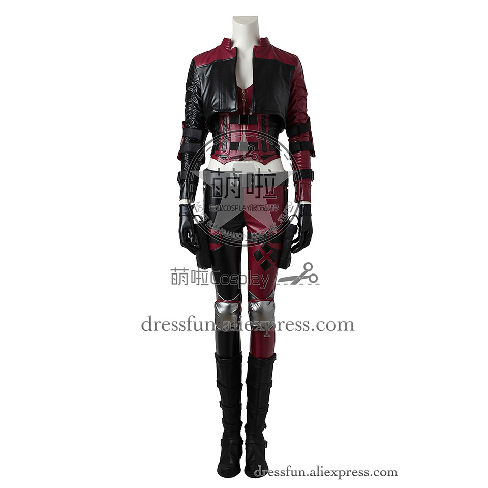 Injustice 2 Cosplay costumes Harley Quinn Harleen Quinzel costume Slim Outfits Full Set clothing uniform Fashion Fast Shipping