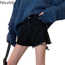 Fashion Sequin Fringe Denim Shorts Women Sexy Pocket Loose High Waist 2019 Spring Girl Hot Booty Short Plus Size