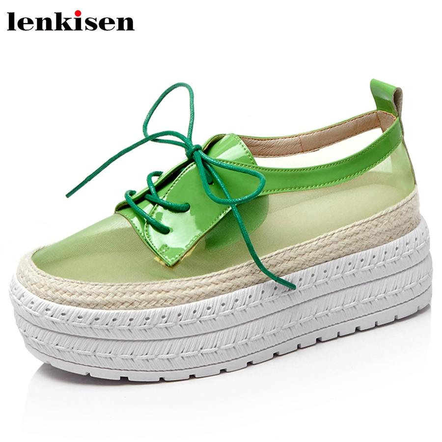Lenkisen 2018 round toe lace up cow leather solid causal shoes med heels preppy style runway women fairy vulcanized shoes L79