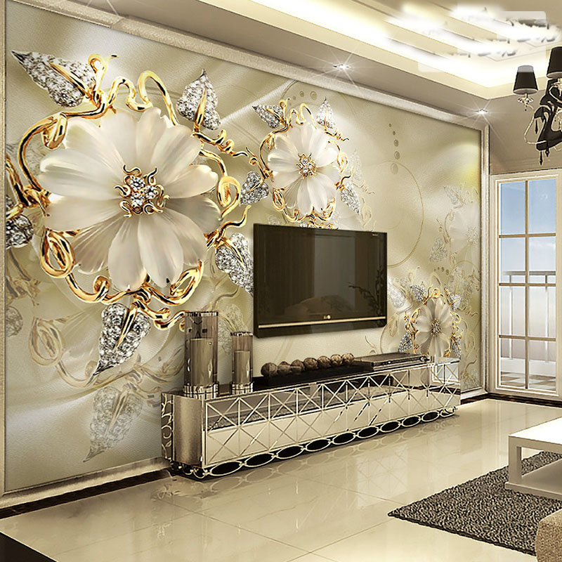 Custom Crystal Flower Murals 3d Wall Murals Wallpaper for TV Background carving peony 3d Photo Murals Wall paper 3d wall murals custom 3d photo wallpaper mural nordic cartoon animals forests 3d background murals wall paper for chirdlen s room wall paper