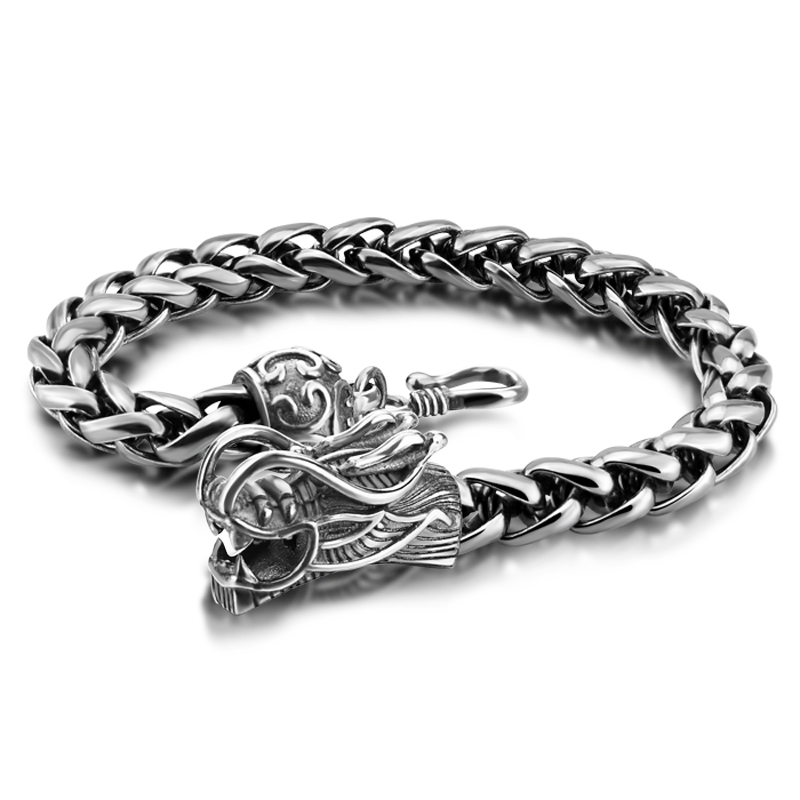 Retro fashion male Thai silver bracelet 925 Sterling silver 8 mm20cm wide bracelet real solid silver dragon bracelet man jewelry fashion 925 sterling silver 5mm red garnet bracelet women gift thai silver jewelry several string long bracelet ch041954