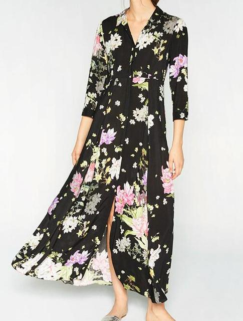 b14c08b3a5e 2017 NEW Gorgeous Lady Fashion Black FLORAL PRINT Maxi DRESS Shirt collar  with 3/4 sleeves Front button Long dress