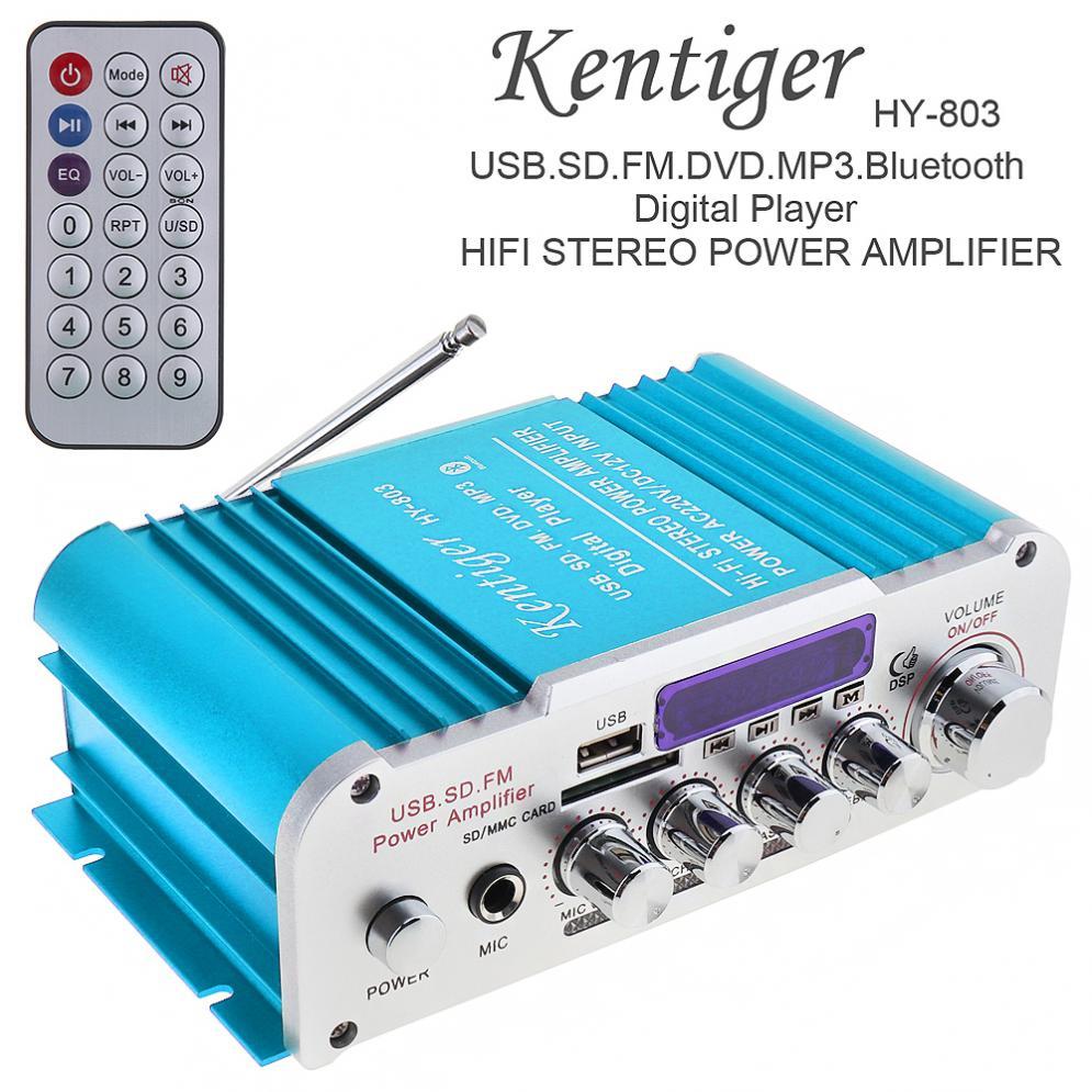 Kentiger 2CH Hi Fi Bluetooth цифровой автомобильный аудио усилитель мощности fm радио плеер Поддержка SD USB DVD для автомобиля мотоцикла дома