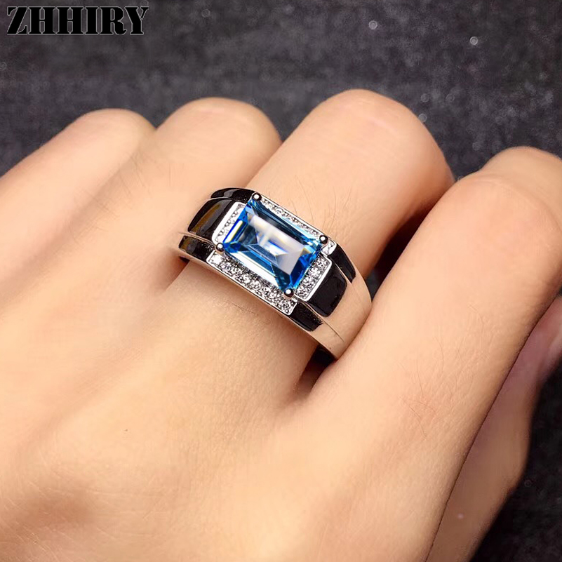 ZHHIRY Genuine Natural Blue Topaz 925 Sterling Silver Ring For Men Real Gemstone Rings Precious Fine Jewelry