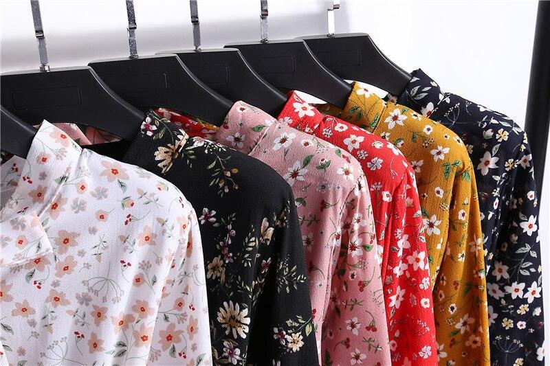 Summer Korean Chiffon Women Dress Elegant Ladies Vintage Long Dress Boho Floral Office Long Sleeve Vestidos Clothing 5LYQ003 64