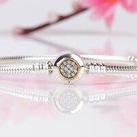 Authentic 925 Sterling Silver Bracelet Two Tone Signature Snake Chain Bracelet Bangle Fit Women Bead Charm