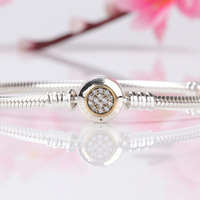 Authentic 925 Sterling Silver pan Bracelet Two-Tone Signature Snake Chain Bracelet Bangle Fit Women Bead Charm Jewelry