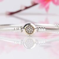 Authentic 925 Sterling Silver Pandora Bracelet Two Tone Signature Snake Chain Bracelet Bangle Fit Women Bead