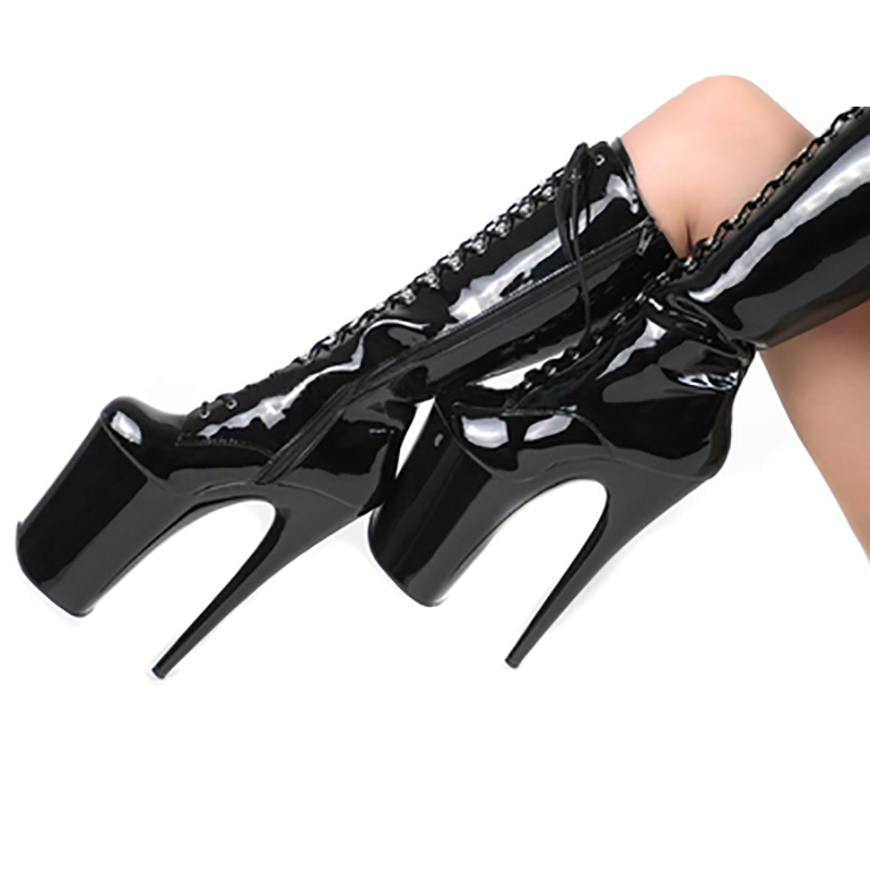 Boots Women Shoes Platform Black Red High Heels Mid Calf Boots Glossy Lace Up Zip Fashion Fenty Beauty Gothic Shoe Ladies Boots оплетка skyway eco s01101029