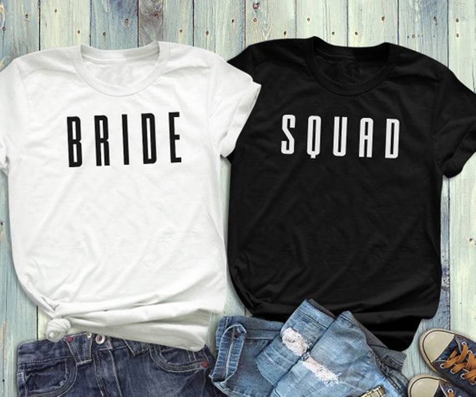 Bride Squad Coupled Lovers T-Shirt Honeymoon Bacheloretter Party Tee Bridesmiad Shirt Causal Weeding Gift Tops Feminise t shirt