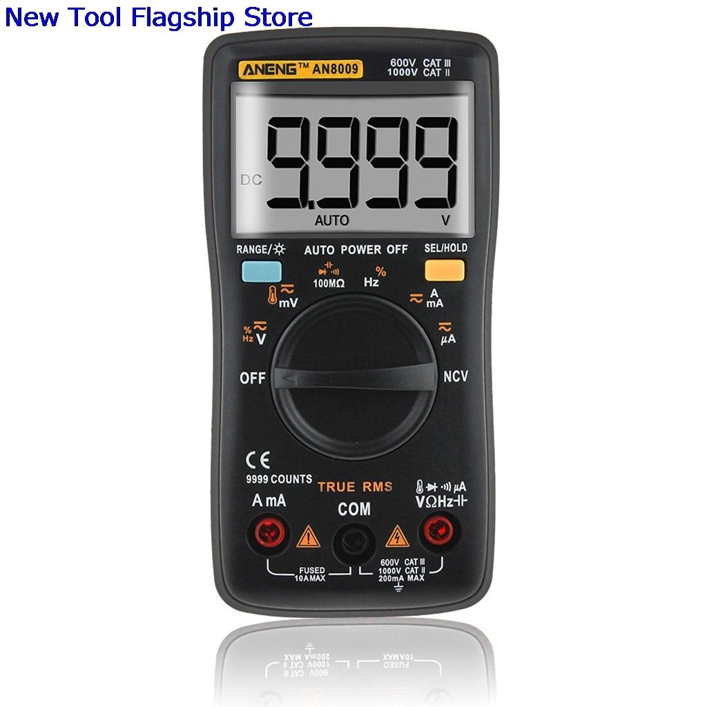 AN8009 True-RMS Auto Range Digital Multimeter NCV Ohmmeter Voltage Ammeter Black