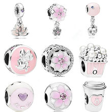 dodocharms The New Original Pendant Gift Fashion Blue Fit Pandora Silver Bracelet Pink Bead Necklace Heart-shaped(China)