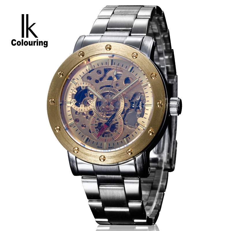 IK Colouring Mechanical Watch Men Skeleton Automatic Steampunk Watch Antique Bronze Retro Gold Montre Homme Wristwatch Gift Box ik colouring automatic double sided hollow casual men s skeleton dial horloge auto mechanical wristwatch original box watch